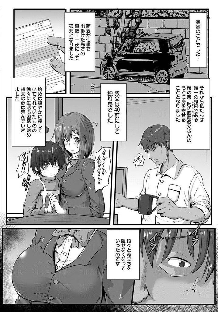 【エロ漫画】【エロ漫画】両親が亡くなり叔父の家に預けられることになった巨乳JK…弟と生活を守るため叔父の変態趣味を受け入れ緊縛セックス【くもえもん:姉抱き】