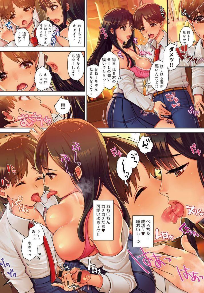 【エロ漫画】天使のような弟の部屋でオナニーするのが日課な巨乳JKの姉…弟にバレてしまいキスしながらチンコを扱き誰かに取られるのを嫌がり中出しセックスで筆下ろし【七吉。:弟君犯っちゃいます!!】